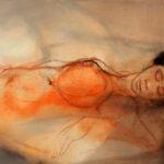 108 - Bella durmiente Acrílico y carboncillo sobre tela 70x100 cm
