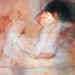 115 - EL Abrazo. Diálogo con Schiele Acrílico, carboncillo y pastel sobre tela 66x82 cm