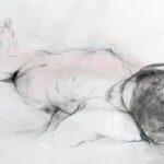 148 - La modelo y el artista - Acrílico y carboncillo sobre papel entelado - 50x70 cm
