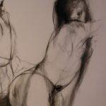 187 - CONCILIO DE AMOR Salomé seducida - Acrílico y carboncillo sobre papel entelado - 100x70 cm