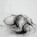 190 - Estudio femenino - Carboncillo y tinta sobre papel - 30x40 cm